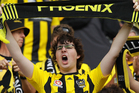 A Phoenix fan shows his support during the round 16 A-League match between the Wellington Phoenix and the Western Sydney Wanderers. Photo / Getty Images.