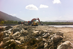 The washed out section of State Highway 6 near Harihari on the West Coast earlier this month. Photo / NZ Herald