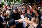Kim Dotcom answered questions at the new Mega file-sharing pre-launch gathering at Giapo icecream shop in Queen St last week. Photo / Greg Bowker