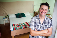 Justin used decking to make his bed. Photo / Natalie Slade