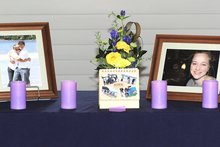 A shrine in honour of Brian & Grace Johnston and Caitlin Dicks