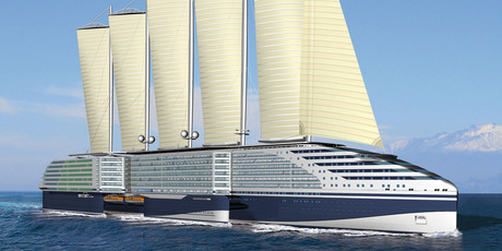 Features of STX's environmentally friendly Eoseas project include huge sails to supplement its LNG power plant. Photo / Supplied