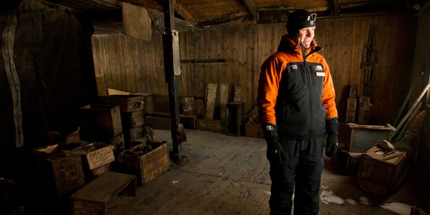 Scott Base hut guide Anthea Fisher inside the 110-year-old Discovery Hut, which is to be restored to conserve it and its contents as left by explorer Robert Scott. Photo / Alan Gibson