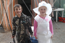 Dylan and Natalie Stone in fancy dress at Falstone Camping Ground.  Photo / Supplied