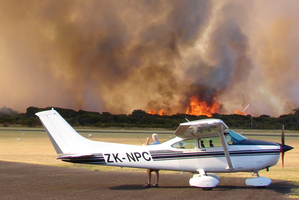 The smoke delayed flights at Claris Airport but a couple of private planes were allowed to take off. Photo / Brock Evans