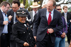 David Shearer shares a light moment with Maori warden Maraea Calteaux at Ratana Marae.  Photo / Mark Mitchell