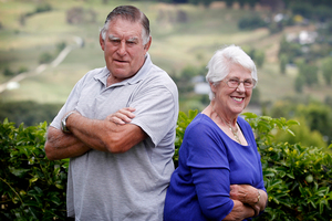 Sir Colin Meads is part-owner of hot favourite Ruud Awakening. His wife, Lady Verna, is co-owner of rival Charlestown. Photo / Christine Cornege