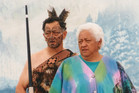 Bub Wehi (left) and Nen Wehi on stage in 1994 leaders of the champion kapa haka group Te Waka Huia in Hawera. Photo / Supplied / Bradford Haami