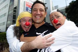 Ayden Jacobs (left), Steve Price and Zak McCracker clown it up. Photo / Doug Sherring