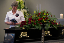 Lichelle Mills at the funeral of her son Javed.  Photo / Sarah Ivey