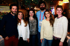 Bret McKenzie (far left) with Jane Seymour, Stephenie Meyer, Jared Hess, Keri Russell and Jerusha Hess at the Austenland party. Photo / AP