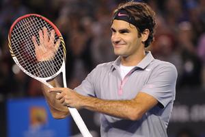 Roger Federer celebrates his win over Milos Raonic. Photo / AP