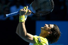 David Ferrer celebrates after defeating compatriot Nicolas Almagro yesterday. Photo / AP