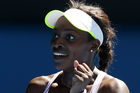 Sloane Stephens was left almost speechless after knocking out Serena Williams. Photo / AP