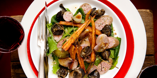 Toulouse sausage and snail salad with roasted shallots and dijon viniagrette. Photo / Babiche Martens, NZH