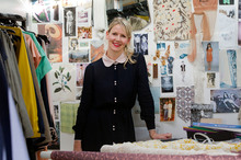 New Zealand fashion designer Ingrid Starnes in the workroom at her Pt Chevalier home. Photo / Sarah Ivey