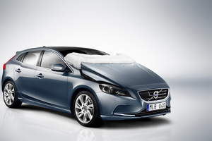 Volvo pedestrian aribag deployed in V40.  Photo / Supplied