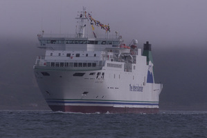The Aratere appears out of the fog on its arrival at Wellington Harbour. Photo / File / Mark Mitchell