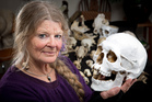 Anna Hoffman with the skull she thinks belonged to Ned Kelly. Photo / John Cowpland