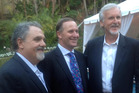 John Key (centre) with James Cameron (right) and John Landau, who says the Prime Minister's visit helped to put a face to New Zealand's initiatives. Photo / Supplied