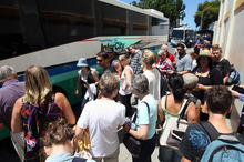 Passengers at Napier's Intercity bus stop on Dalton Street, Napier. Photo / Paul Taylor