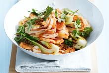 Chilli chicken with cashew noodles. Photo / William Meppem, Donna Hay Magazine