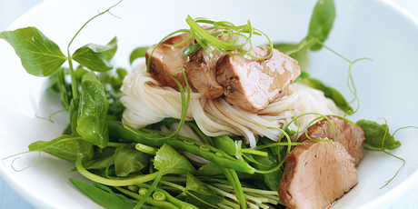 Barbecue pork and snow pea noodle salad. Photo / Chris Court, Donna Hay Magazine