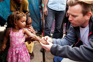 Ewan McGregor carried vaccines for children. Photo / Supplied