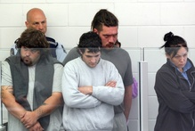 The five accused of aggravated burglary charges, related to the fatal bashing of Featherston man Glen Jones, in the Masterton district court.  Photo / Wairarapa Times-Age
