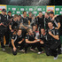 The Black Caps celebrate after winning the series against South Africa in Potchefstroom, South Africa. Photo / AP
