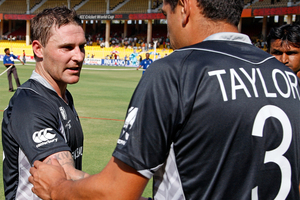 Brendon McCullum (left) and Ross Taylor will be reunited when New Zealand take on England next month. Photo / AP.