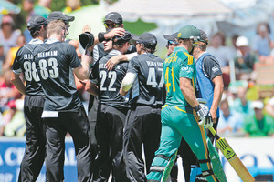 The Black Caps bowled South Africa out in the 47th over. Photo / Schalk van Zuydam