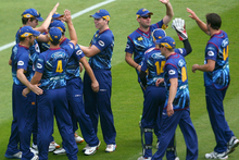 Otago celebrate a wicket during the HRV T20 Final match between the Otago Volts and the Wellington Firebirds. Photo / Getty Images.