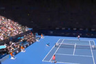 Although she won in straight sets, Tuesday's Australian Open quarterfinal wasn't all smooth sailing for Li Na - best exemplified by this crowd-endangering shanked serve. Photo / Youtube.