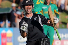 James Franklin of New Zealand celebrates hitting the winning runs during the 1st One Day International match between South Africa and New Zealand. Photo / Getty Images.