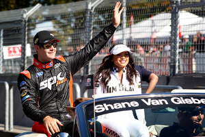 Shane Van Gisbergen waves to the crowd at the final V8 Supercars round in Hamilton last year. Photo / Christine Cornege