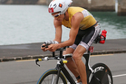 Clark Ellice of New Zealand in action on the cycle leg during the Ironman 70.3 Auckland triathlon. Photo / Getty Images.