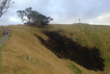 The fire damage in the Mt Eden crater. Photo / Twitter / @OceaniaDawn