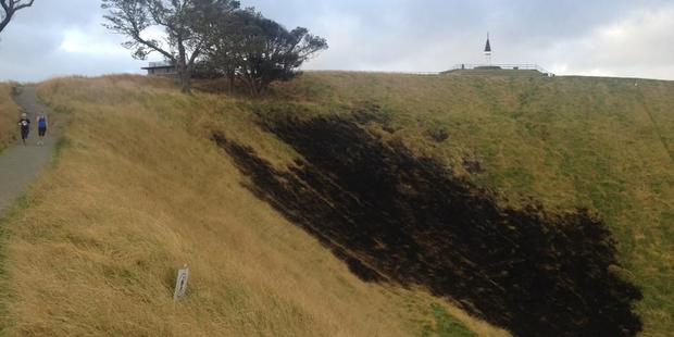 Loading The fire damage in the Mt Eden crater. Photo / Twitter / @OceaniaDawn