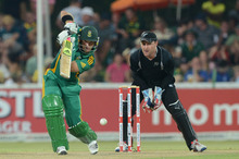 Brendon McCullum of New Zealand looks on as Co