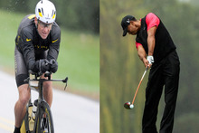 Lance Armstrong (left) brought shame to his sport and colleagues and Tiger Woods tarnished his own name and that of some sponsors. Photos / AP