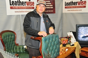 RESTORER: Leatherwise owner-operator Andre Mendes da Costa renovates old leather furniture at the Made In Wairarapa Expo.PHOTO/FILE