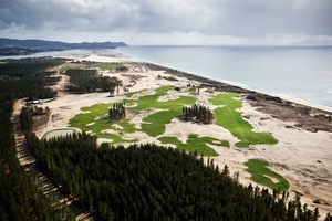 The Tara-iti Golf Course being built at Te Arai beach. Photo / Greg Bowker