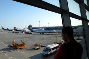 A Russian Aeroflot plane as seen through a window of Sheremetyevo airport. Photo / Getty Images
