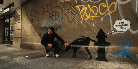 A new Bansky work in New York City. Photo / Getty Images