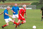 80-year old footballer Ernie Hall (far left) in action for Onehunga Workingmens Club.