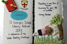 The cake prepared for the festival day featuring a quote from children's author Lemony Snicket (the pen name of American Daniel Handler). PHOTOS/BEVAN CONLEY