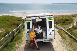 TEAM WORK: As of Monday an ambulance will be based at the Papamoa Surf Club. Pictured is lifeguard Ailsa Cowdrey and paramedic, Steven Pasquali.PHOTO/JOHN BORREN 041013JB07BOP