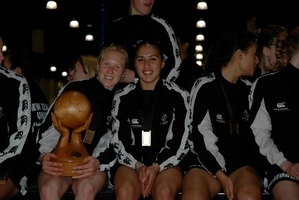 Laura Langman (left), and Liana Leota with the spoils of success in 2005.