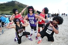 Serena Sage, left, Kenny Asiata, Talei Williams, Aagie Lokeni and Toa Su'a at the City to Surf run. Photo / Joel Ford